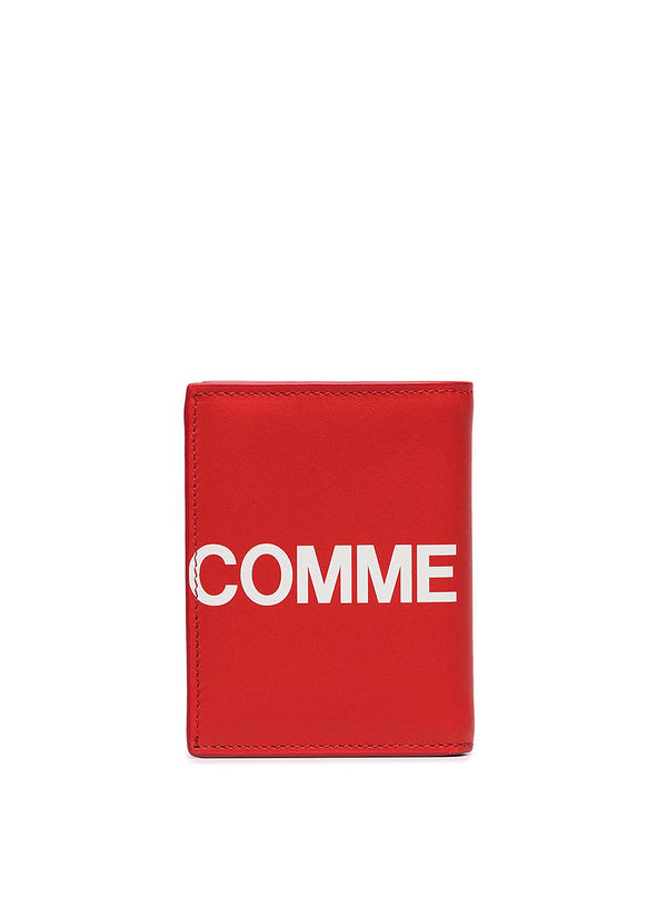 comme des garcons wallet huge logo classic leather fold wallet red ss 2021