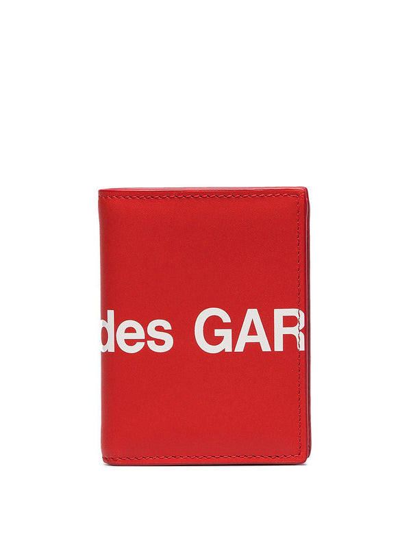 Huge Logo Classic Leather Fold Wallet - Red