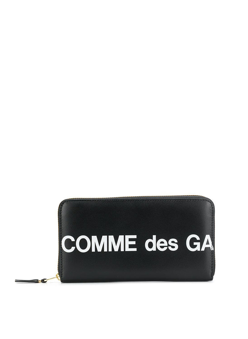 comme des garcons wallet huge logo leather long zip wallet black ss 2021