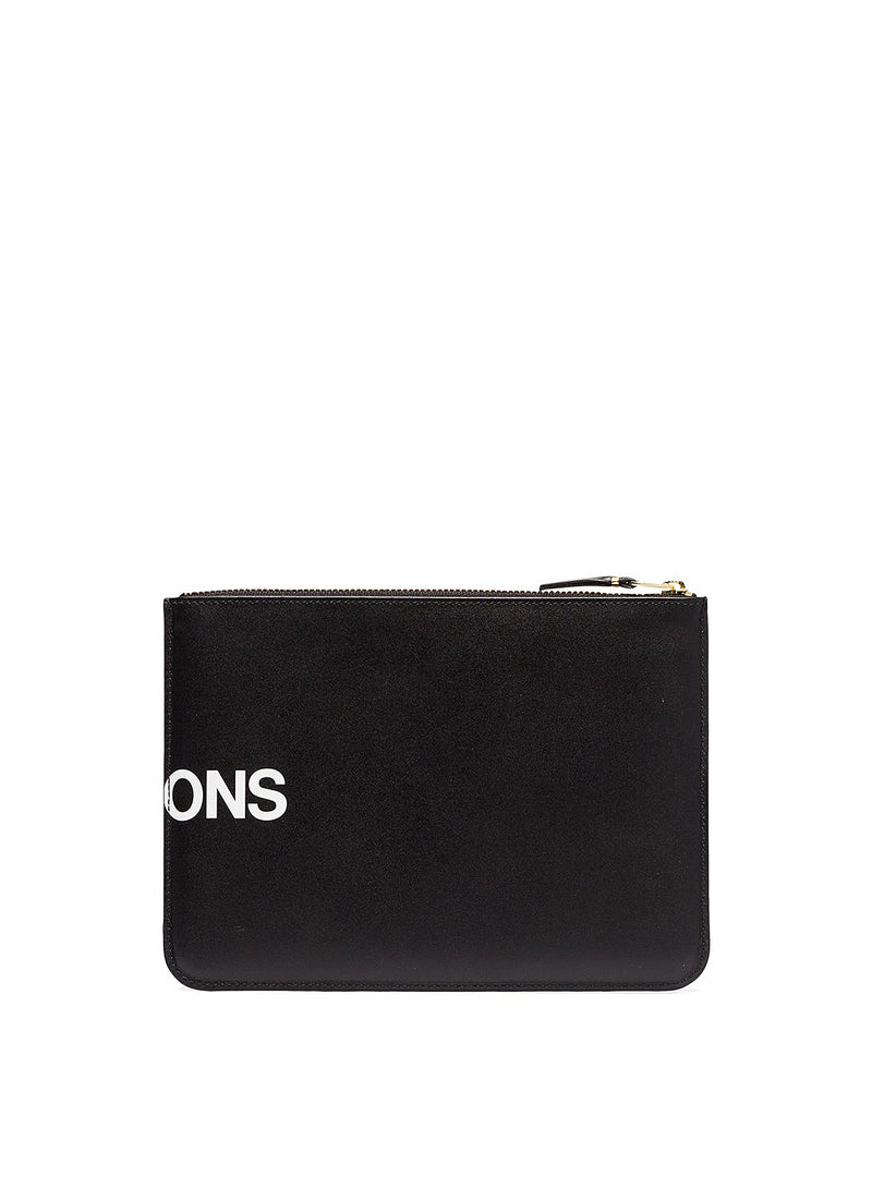 Huge Logo Leather Zip Pouch - Black