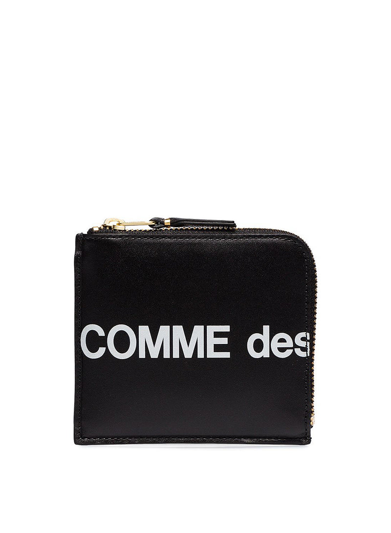 comme des garcons wallet huge logo square leather zip wallet black ss 2021