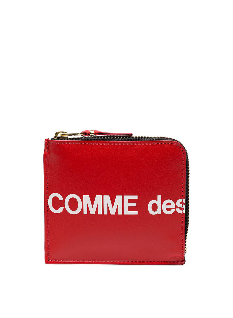 comme des garcons wallet huge logo square leather zip wallet red ss 2021