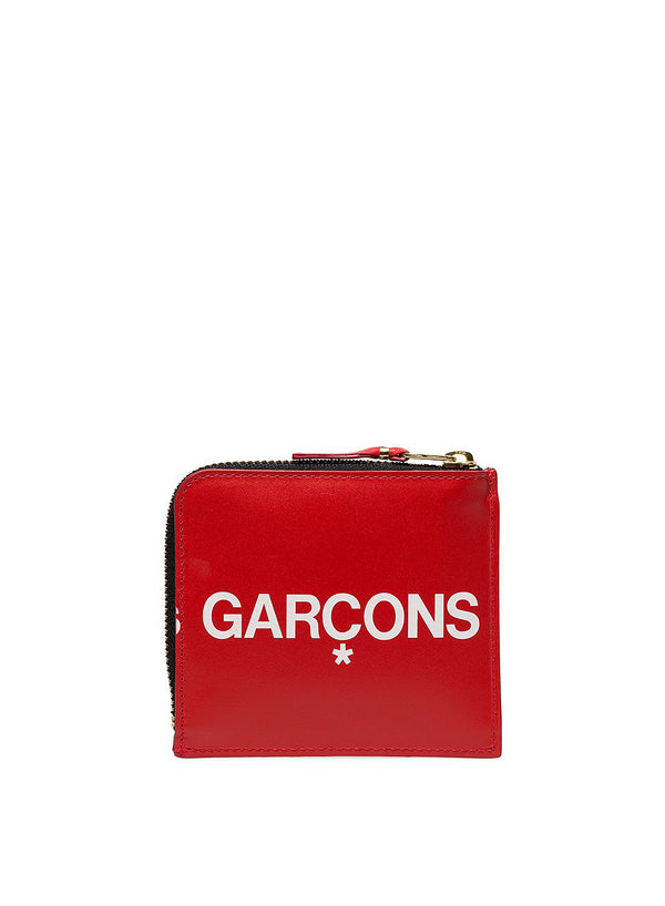 Huge Logo Square Leather Zip Wallet - Red