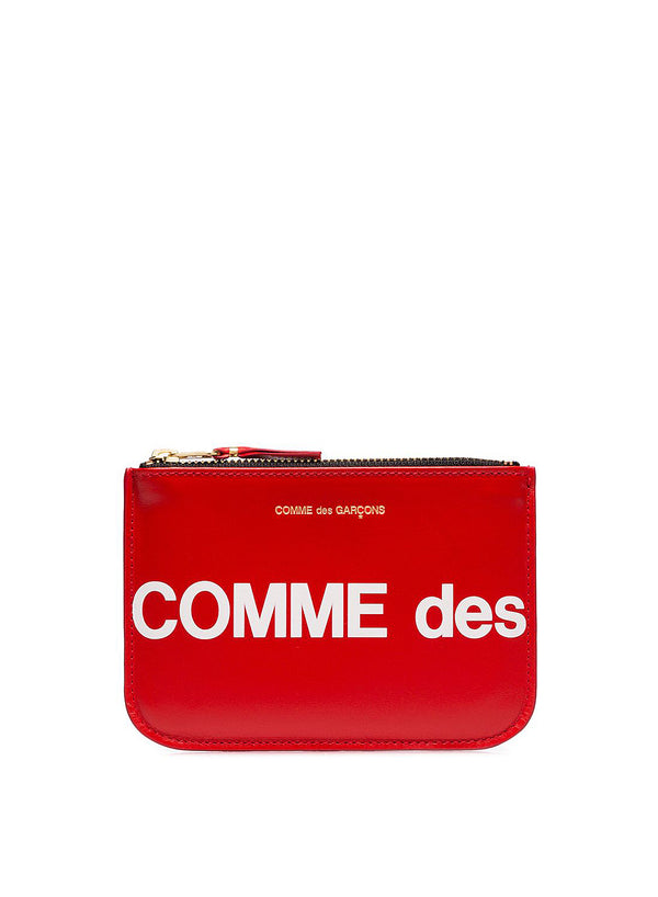 comme des garcons wallet huge logo zip top wallet red ss 2021