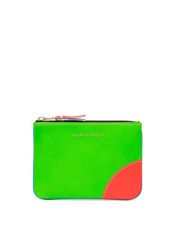 comme des garcons wallet super flouro leather zip top wallet blue green ss 2021