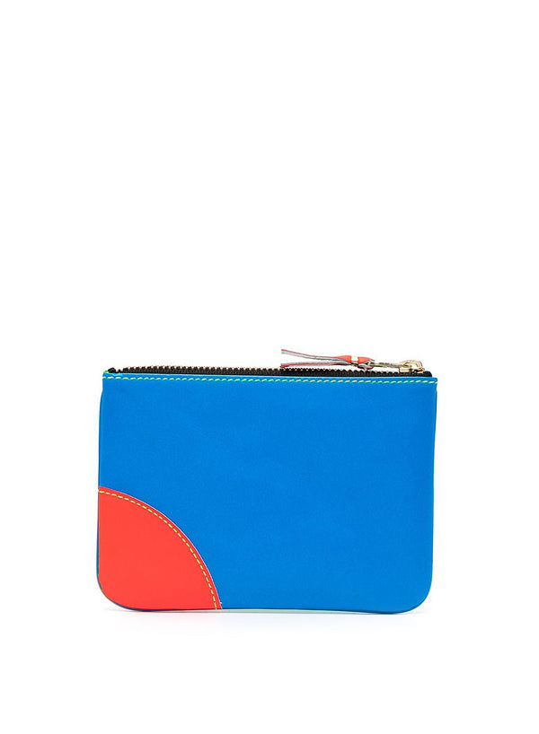 Super Flouro Leather Zip Top Wallet - Blue/Green