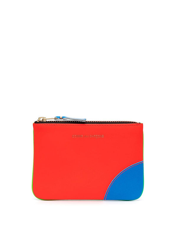 comme des garcons wallet super flouro leather zip top wallet green orange ss 2021