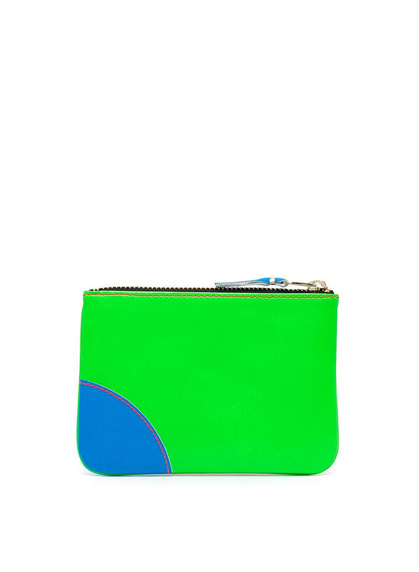 Super Flouro Leather Zip Top Wallet - Green/Orange