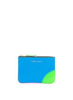 comme des garcons wallet super flouro leather zip top wallet orange blue ss 2021
