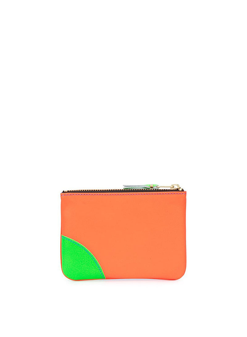 Super Flouro Leather Zip Top Wallet - Orange/Blue