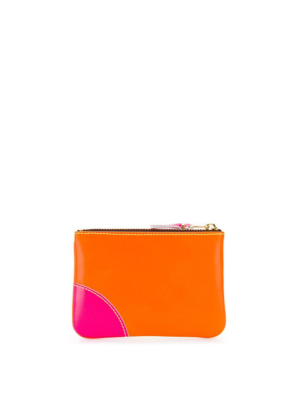 Super Flouro Leather Zip Top Wallet - Yellow/Orange