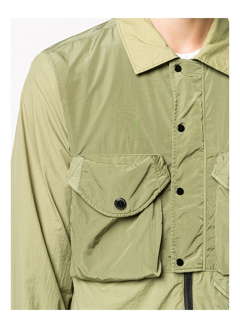 Half Placket Overshirt - Martini Olive