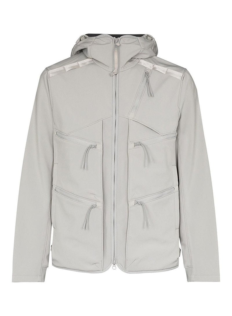 c p company hooded soft shell jacket quiet grey aw 2020
