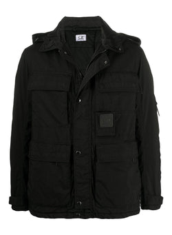 c p company velcro patch hooded jacket black aw 2020