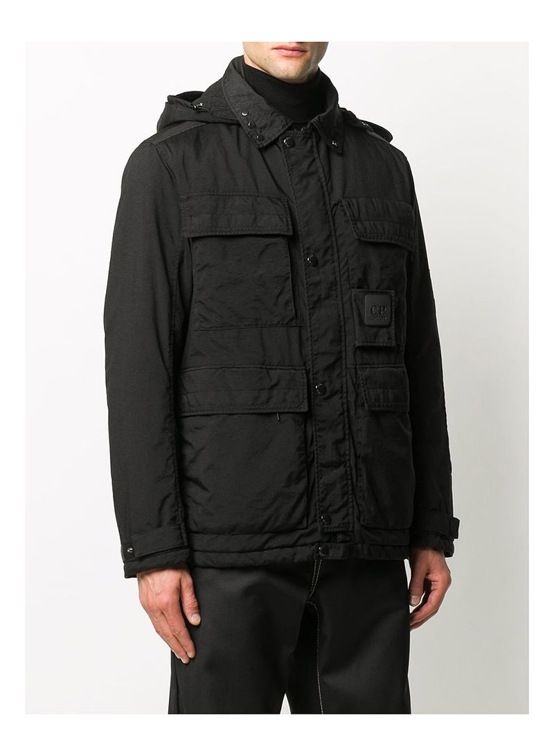Velcro Patch Hooded Jacket - Black