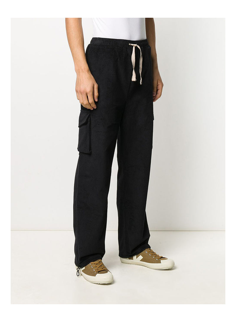 Corduroy Baggy Cargo Pants - Black
