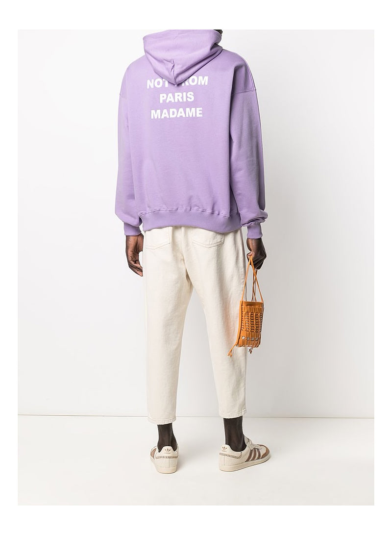 Slogan Embroidered Hoodie - Purple