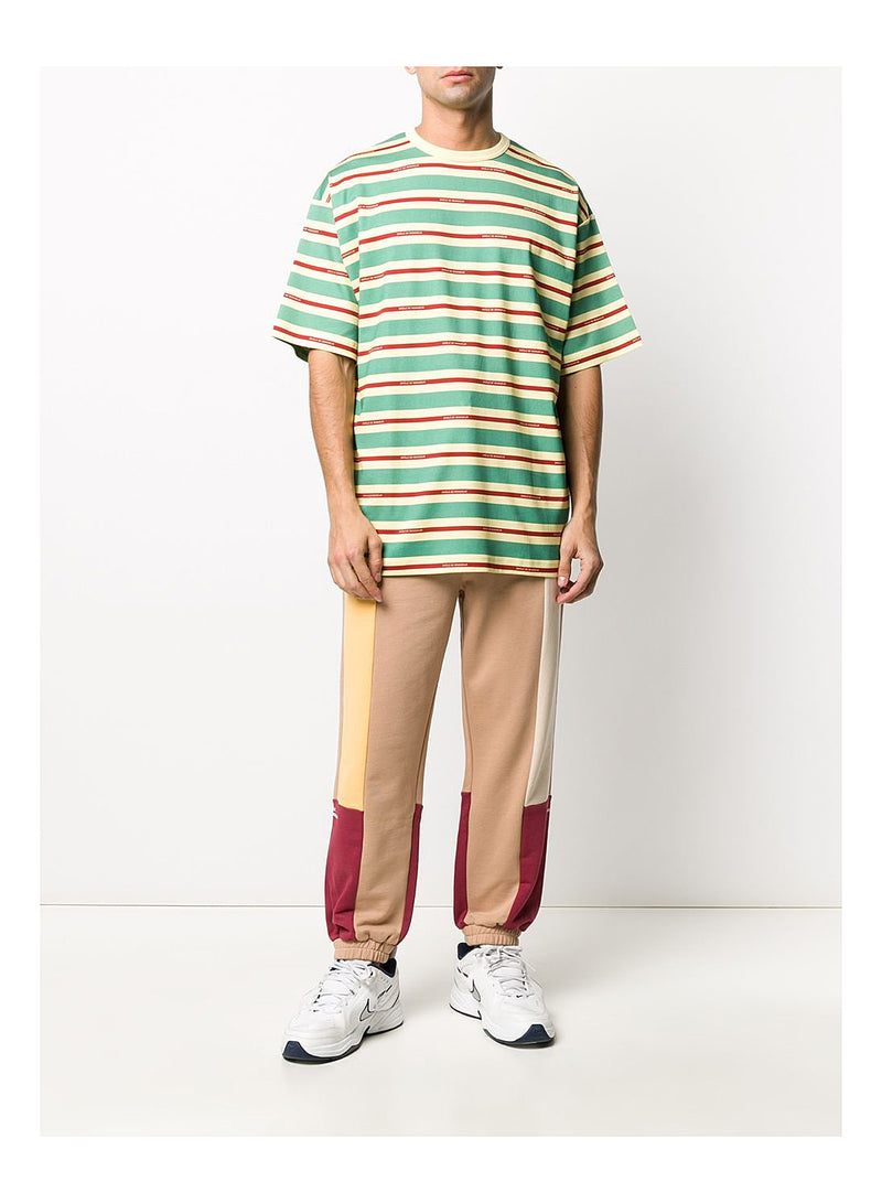 Vintage Striped Tee Loose Fit - Green/Red/Beige