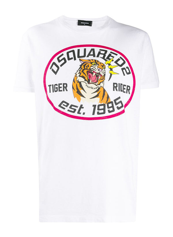 dsquared2 dyed tiger rider tee white ss 2020