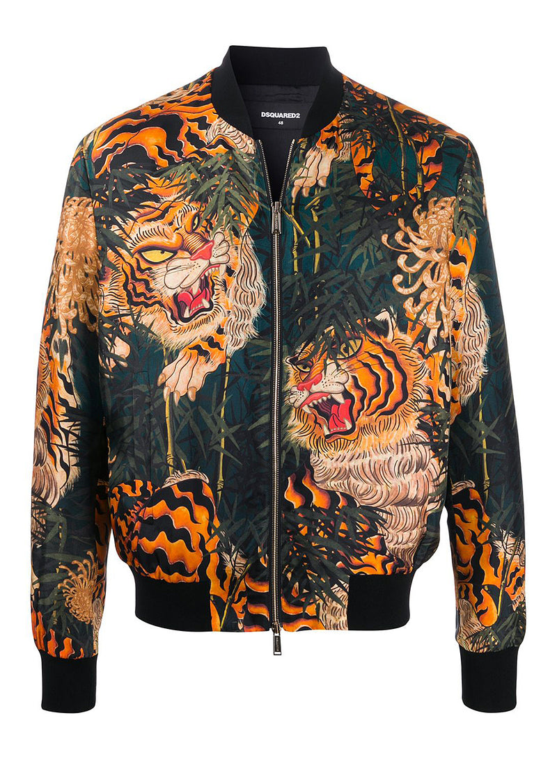 dsquared2 aop tiger classic bomber green orange ss 2020
