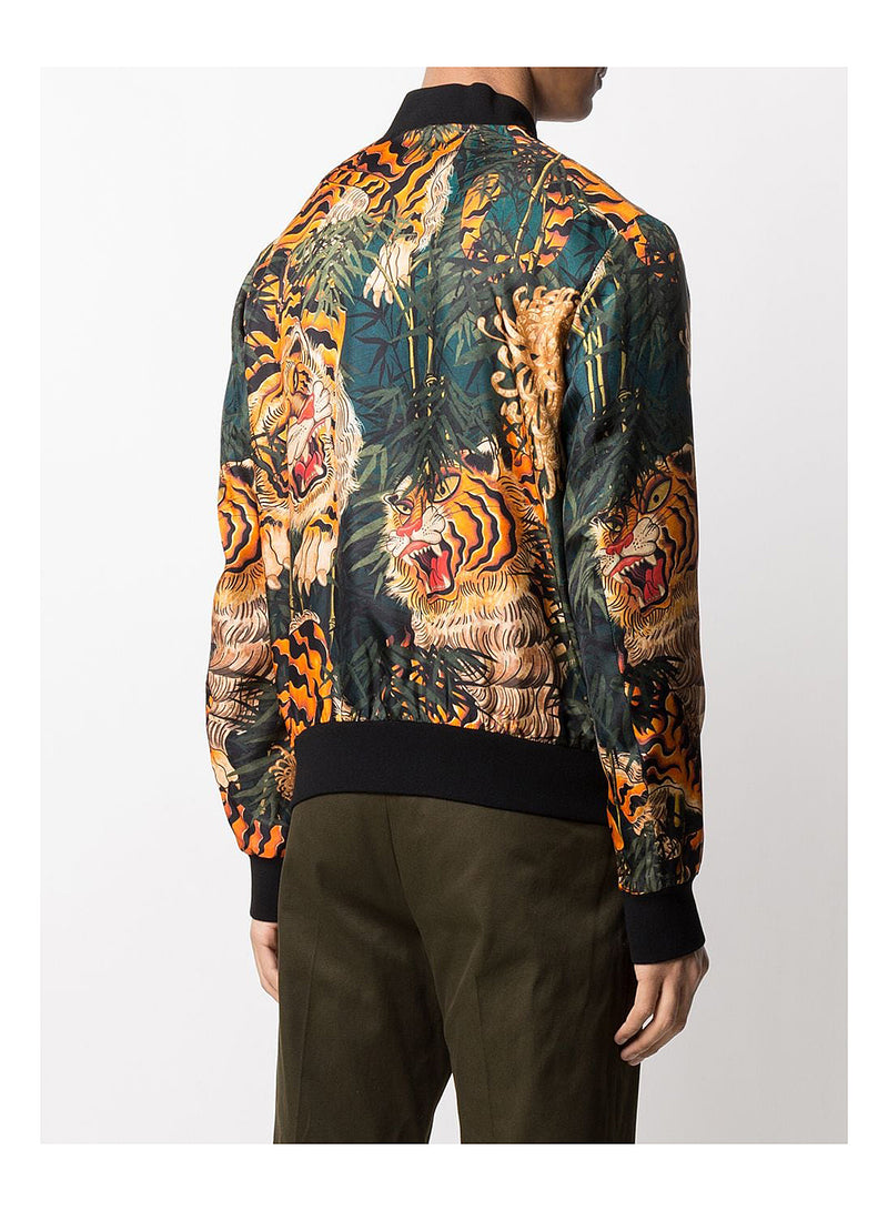 AOP Tiger Classic Bomber - Green/Orange