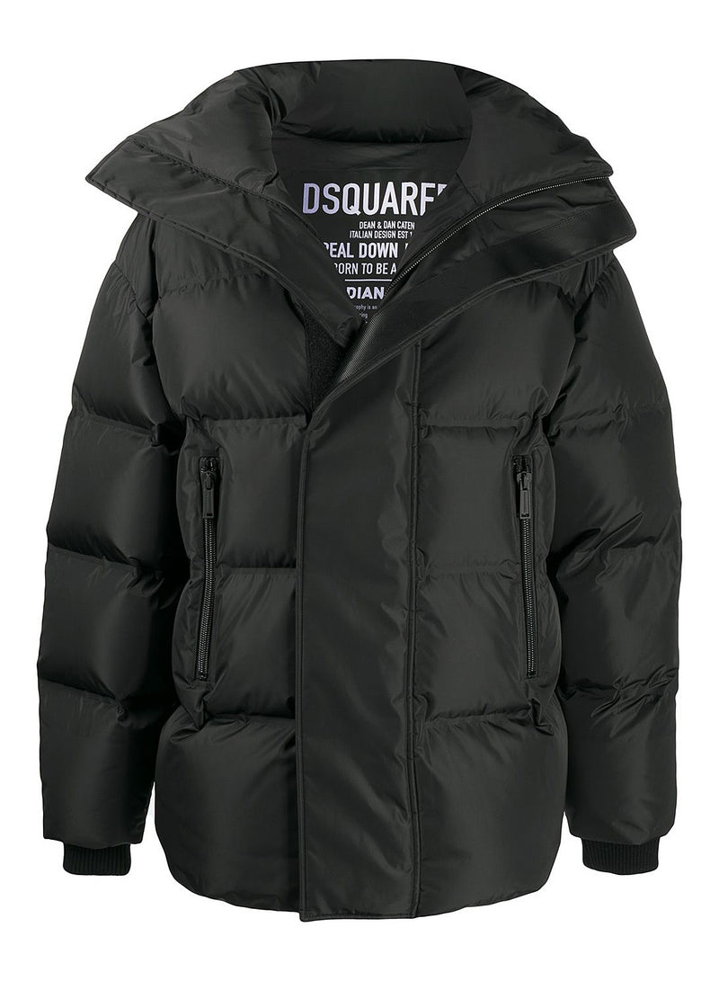 dsquared2 concealed logo down jacket black aw 2020
