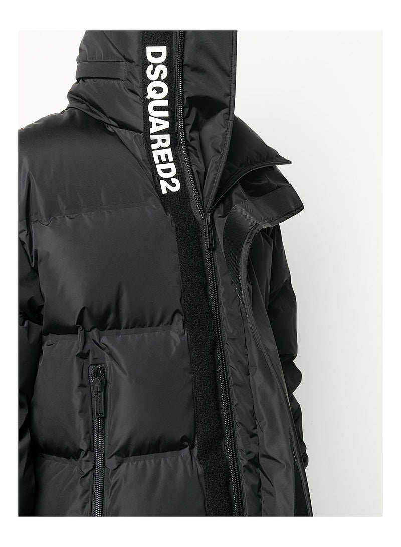 Concealed Logo Down Jacket - Black