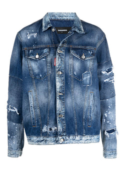 dsquared2 distressed denim jacket blue ss 2021