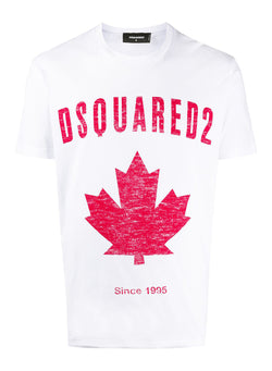 dsquared2 distressed maple leaf tee white aw 2020