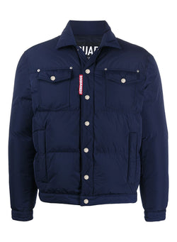 dsquared2 down trucker style jacket navy aw 2020