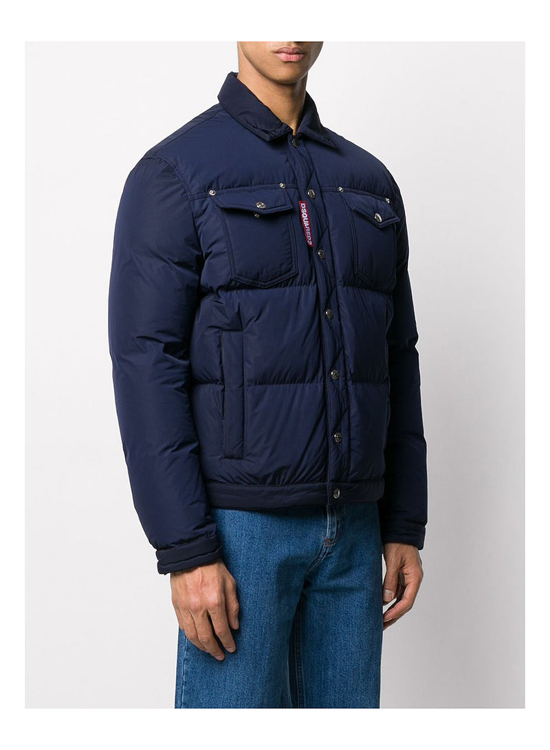 Down Trucker Style Jacket - Navy