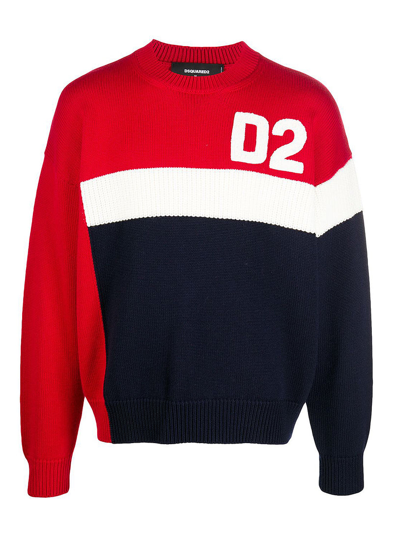 dsquared2 f5 knit sweat white red nay aw 2020