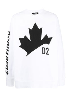 dsquared2 maple leaf sweat white ss 2021