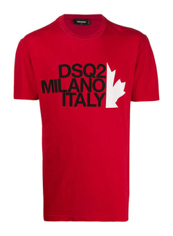 dsquared2 milano maple leaf tee red aw 2020