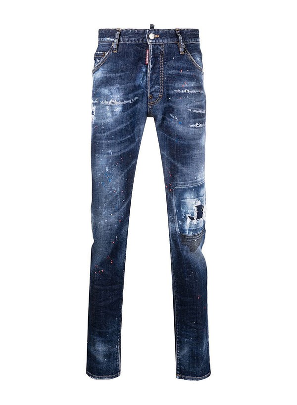 dsquared2 paint splatter cool guy jean blue ss 2021