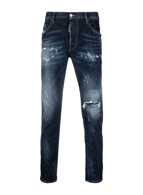 dsquared2 paint splatter skater jean blue ss 2021