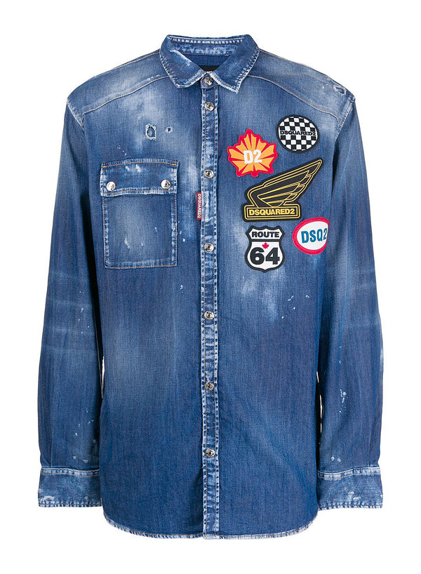 dsquared2 patches denim shirt blue ss 2020