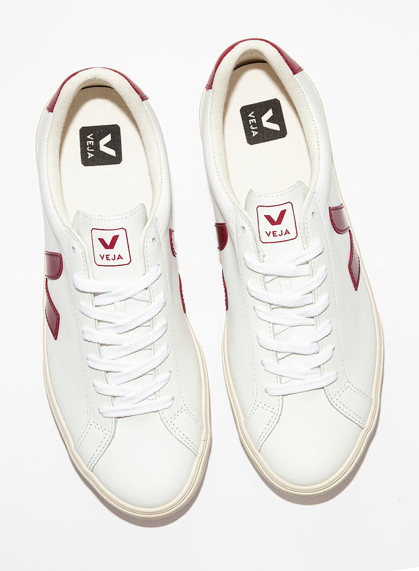 Esplar Logo Leather Trainer- Extra White