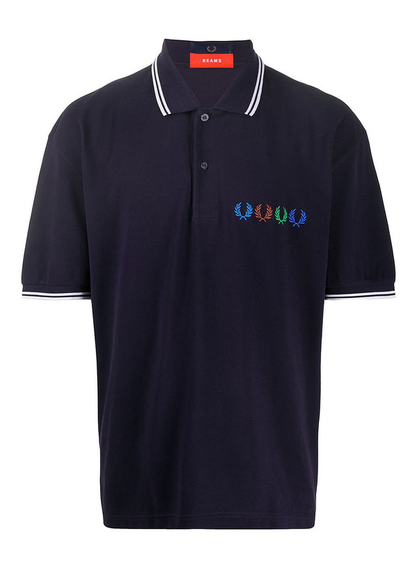 fred perry x beams twin tipped polo shirt indigo night ss 2020