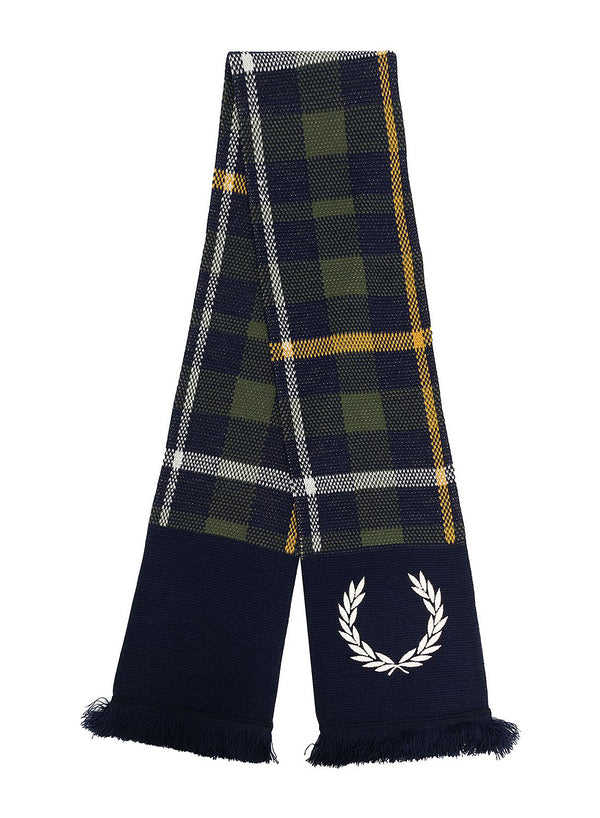 fred perry x nicholas daley knitted tartan scarf shaded navy aw 2020