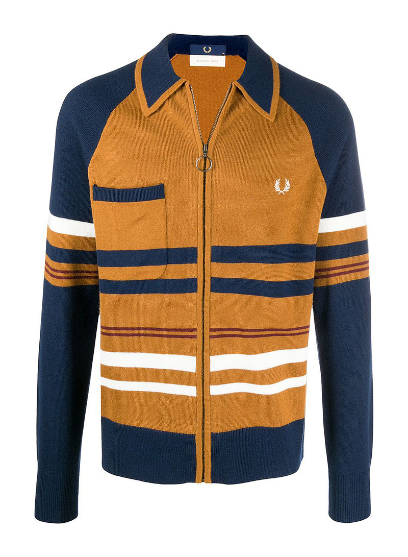 fred perry x nicholas daley knitted zip though cardigan golf leaf aw 2020