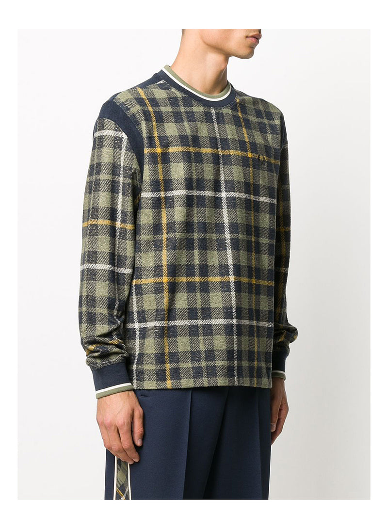 Long Sleeve Tartan Crewneck Sweat - Shaded Navy