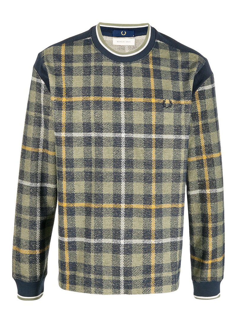 fred perry x nicholas daley long sleeve tartan crewneck sweat shaded navy aw 2020