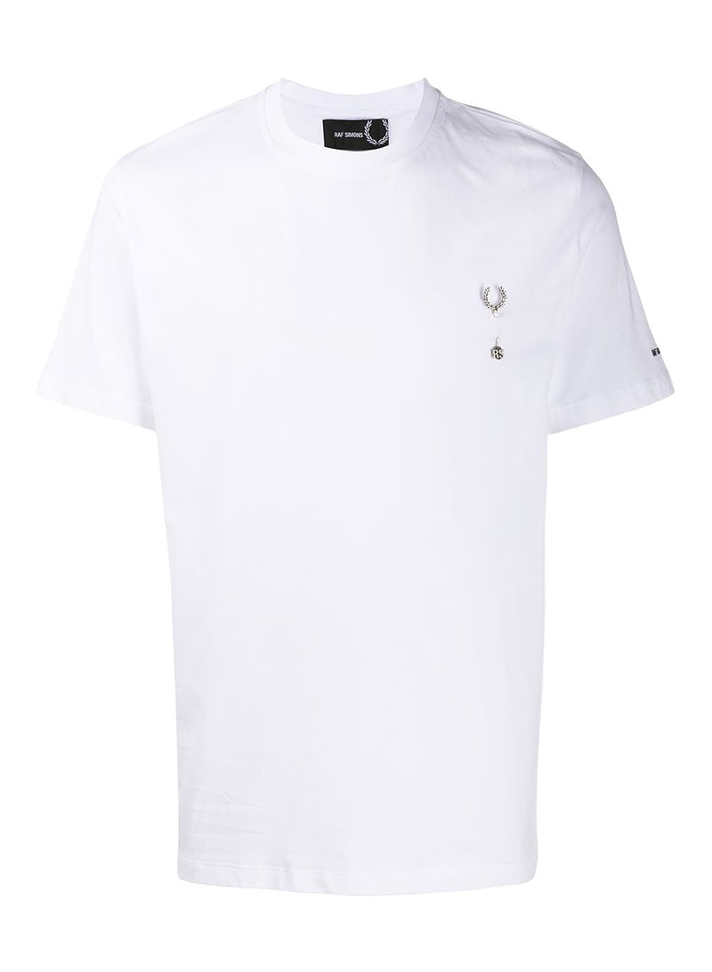 fred perry x raf simons laurel wreath pin tee white aw 2020