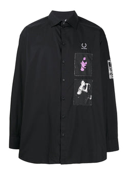 fred perry x raf simons patch oversized shirt black aw 2020