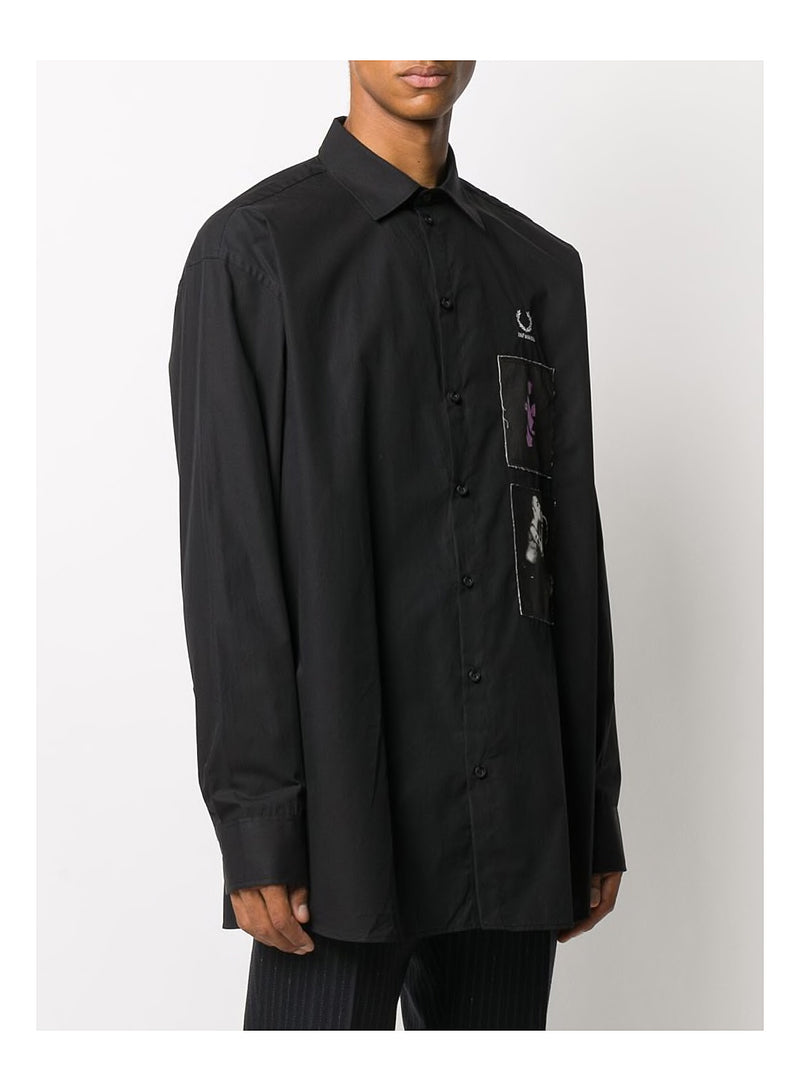 Patch Oversized Shirt - Black