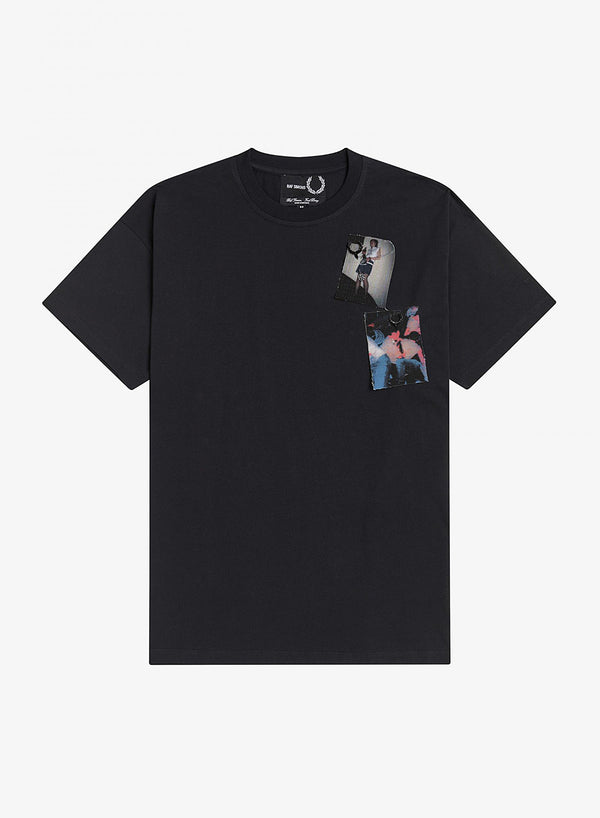 fred perry x raf simons printed patch tee black ss 2021