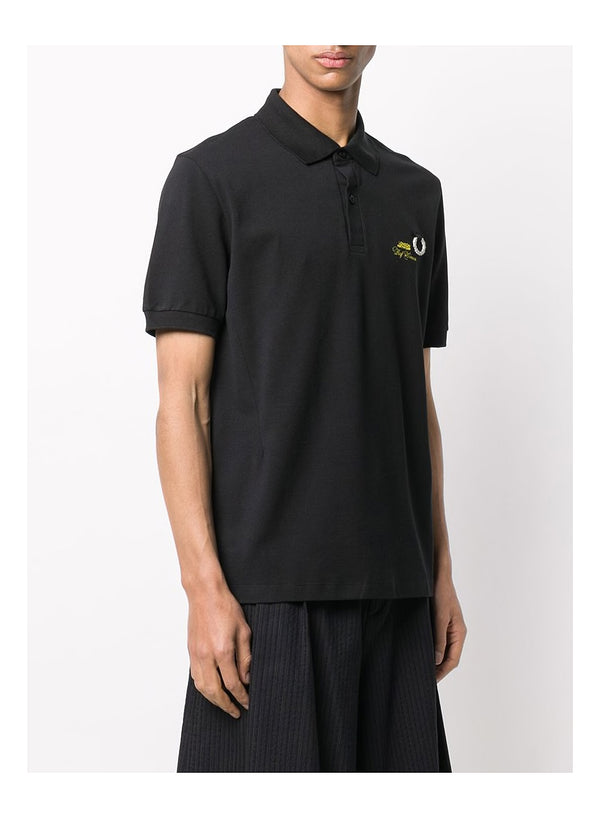 Slim Fit Metal Wreath Polo Shirt - Black