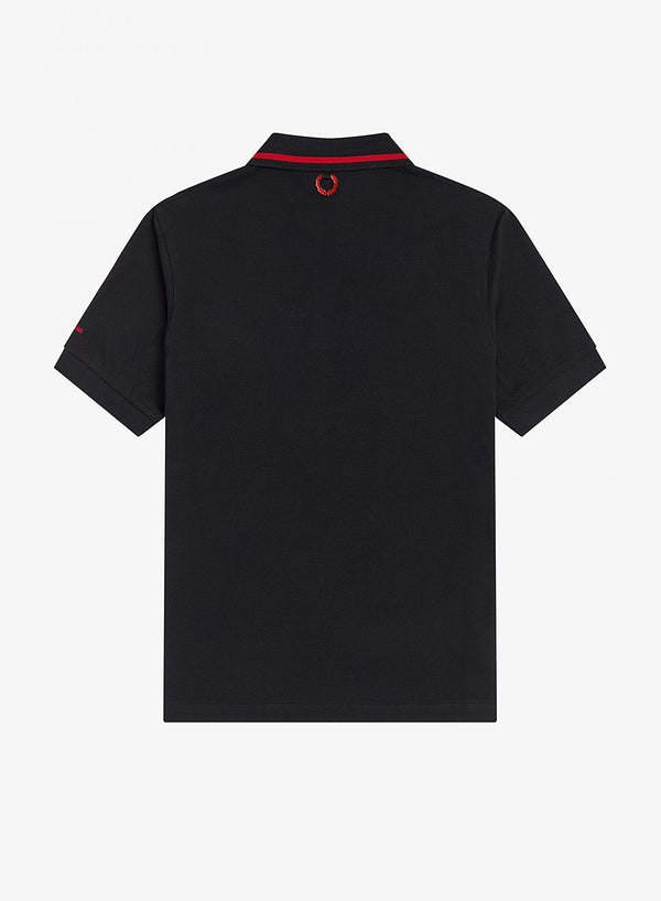 Tipped Chest Patch Polo Shirt - Black