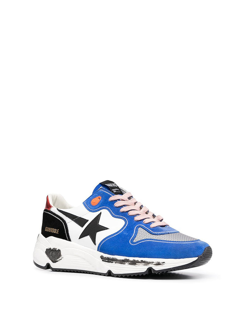 Running Sole Leather Upper And Star Suede Spur Trainer - White/Bluette/Silver/Black/Red